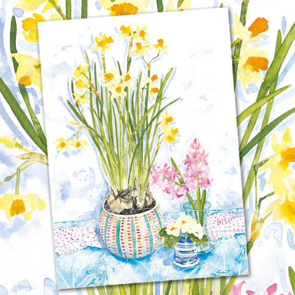 Phoenix Trading cards Alison Vickery artist narcissi daffodils spring