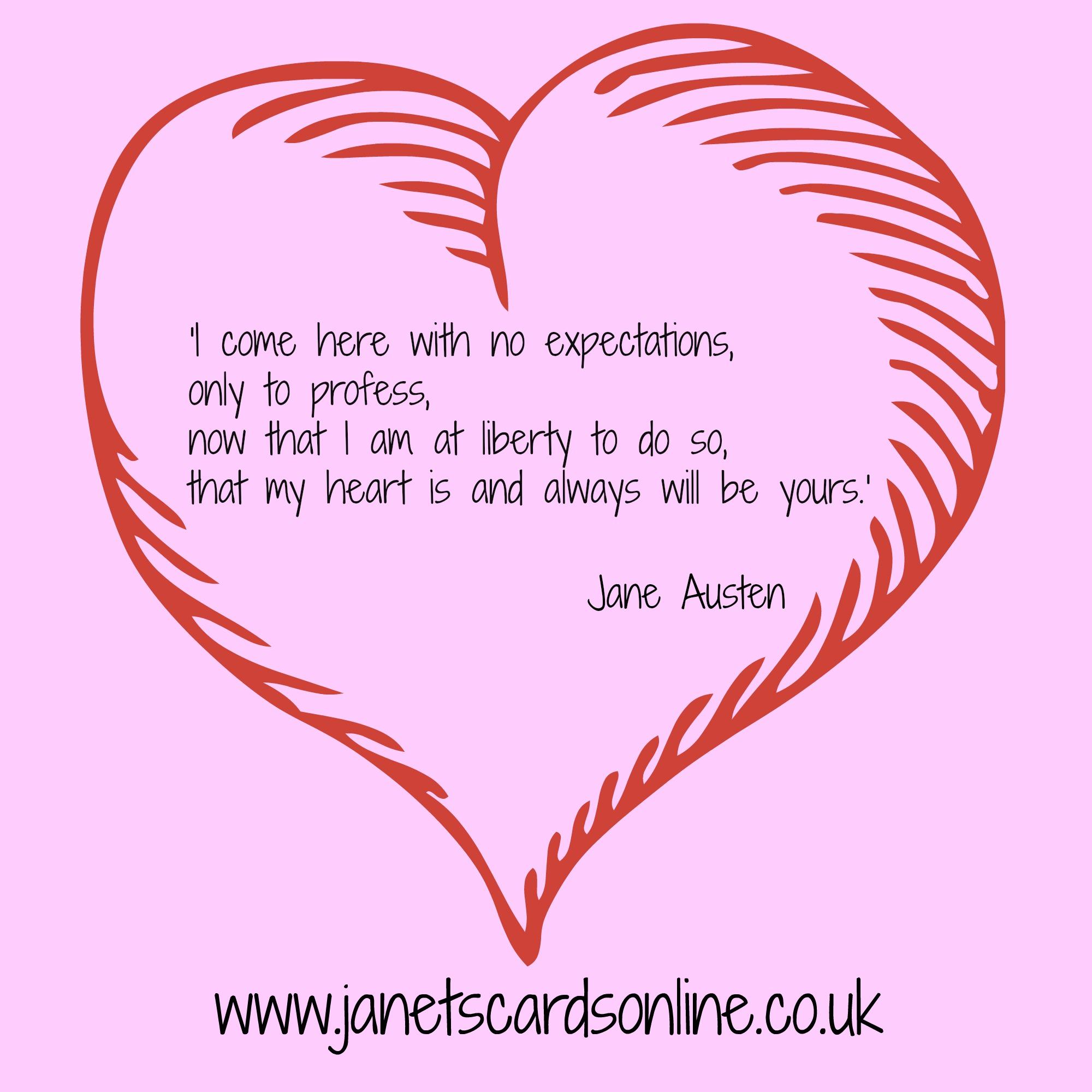 Jane Austen Sense and Sensibility love quote Valentines Day