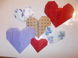 Origami heart craft activity Valentines Day children