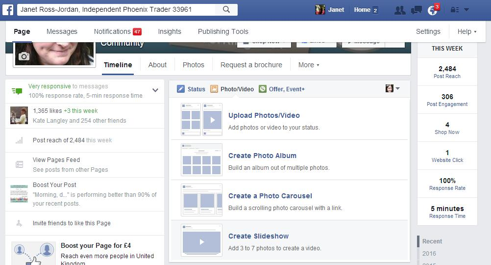 create a slideshow on facebook page