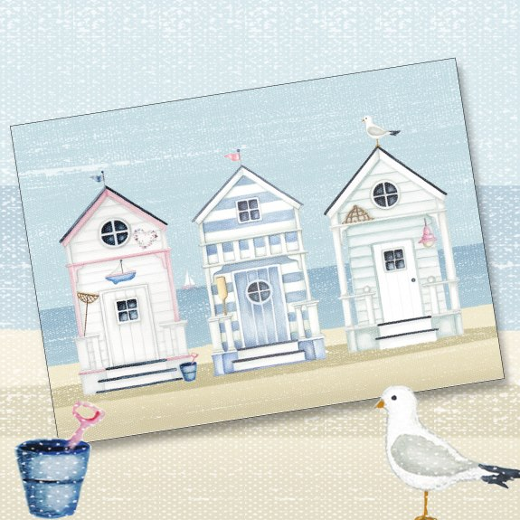 beach huts, phoenix trading, greeting card