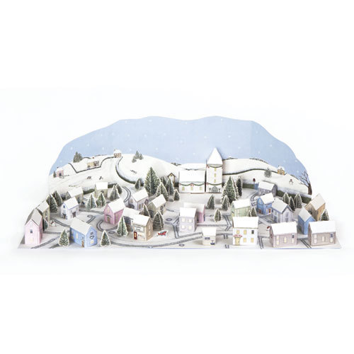 'Snowy Village' £7.50 Fold out traditional advent calendar with 24 houses to build and position to make a beautiful winter scene. Could use the houses to hide sweets or treats. Code ADV19
