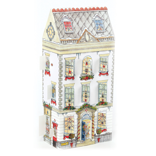 'Christmas Townhouse' £7.50 3D traditional advent calendar with doors and windows to open every day. Code ADV24