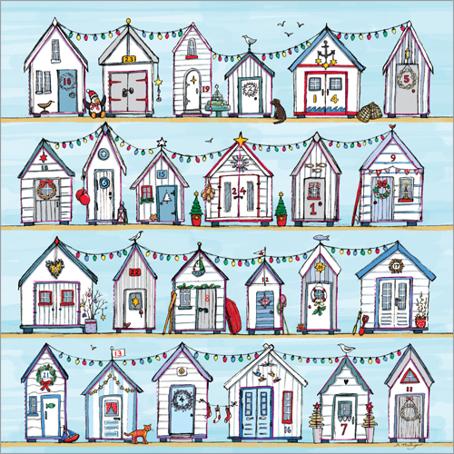 """'Beach Huts' £5.50 12"""" x 12"""" with 24 doors to open Code ADV28 traditional advent calendar"""