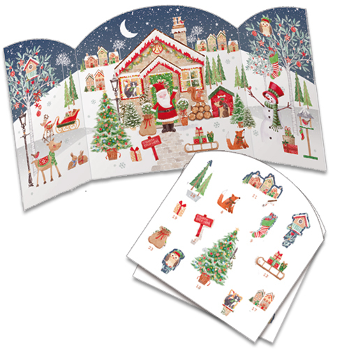 'Santa's House' £7.50 with pop out pieces to insert each day. Code ADV34 traditional advent calendar