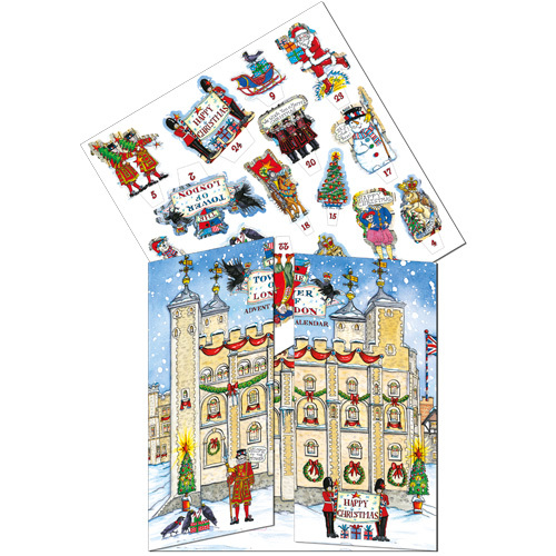 Tower of London advent calendar 3D with doors and windows to open every day. Code ADV37 traditional advent calendar xadv04 flamingo paperie