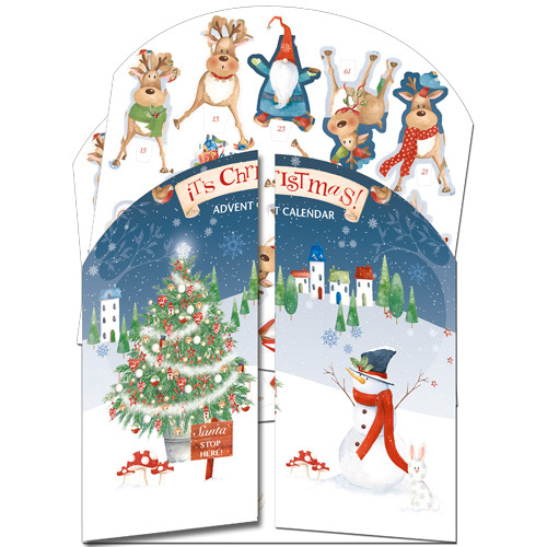 'It's Christmas' £7.50 3D traditional advent calendar with doors and windows to open every day. Code ADV38