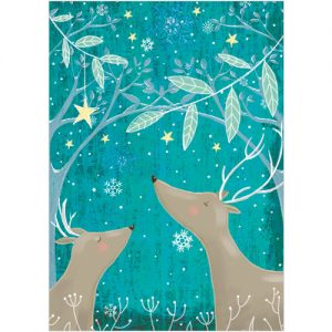 two deer Phoenix Trading Christmas card personalised corporate