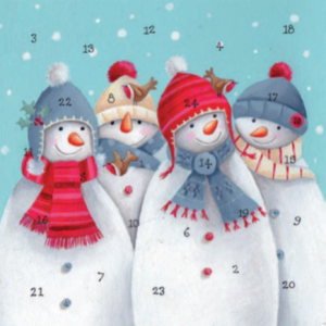 Four Snowmen advent calendar card xac01