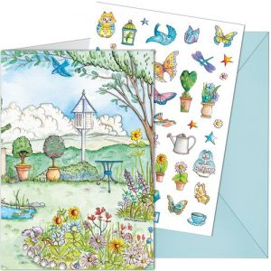 butterfly garden sticker card