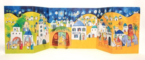 Nativity advent calendar fold out calendar with 24 doors. Code ADV26 traditional nativity advent calendars