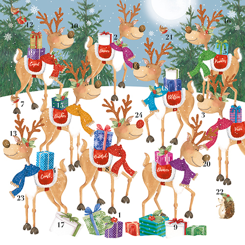 Reindeer Party advent calendar card