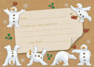 Snowmen thank you notecards