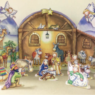 Flamingo Paperie Christmas cards Nativity stable advent calendar XADV01