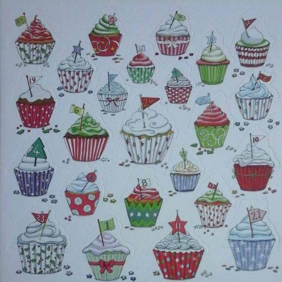 Festive Cupcakes advent calendar card