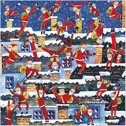 Parkour Santas advent calendar card