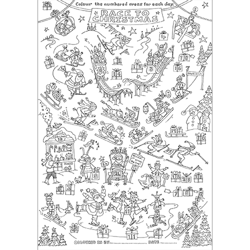 Race to Christmas colouring in advent poster tablecloth
