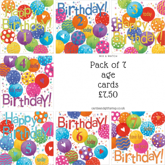 Balloons childrens special age card pack
