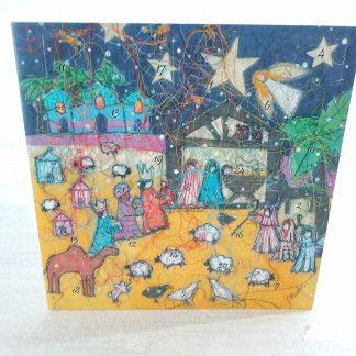 Nativity Night Advent Calendar Card