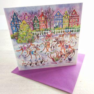 Reindeer Rink advent calendar card